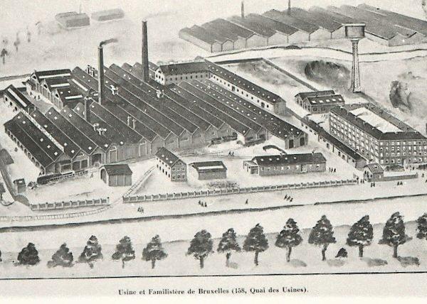 dessin de l'usine Godin située quai des usines, le long du canal