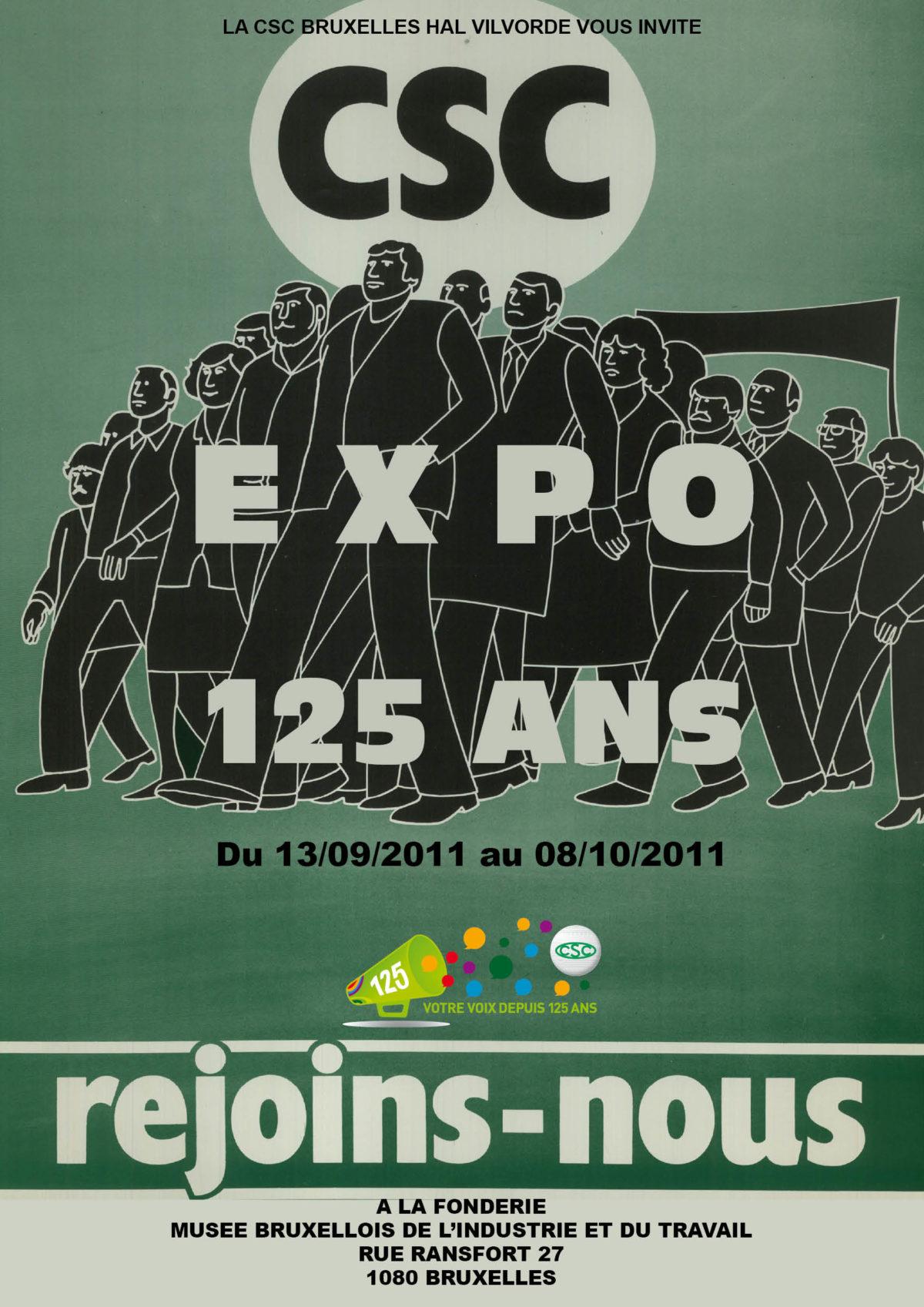 """Affiche de l'exposition """"les 125 ans de la CSC en images"""""""