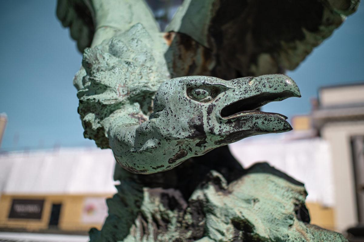 Gros plan de la tête d'un vautour, statue en bronze du Jardin Botanique