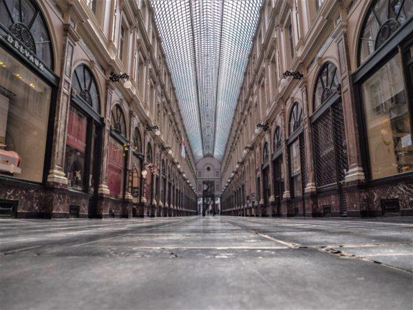 Vue des galeries Saint-Hubert à Bruxelles