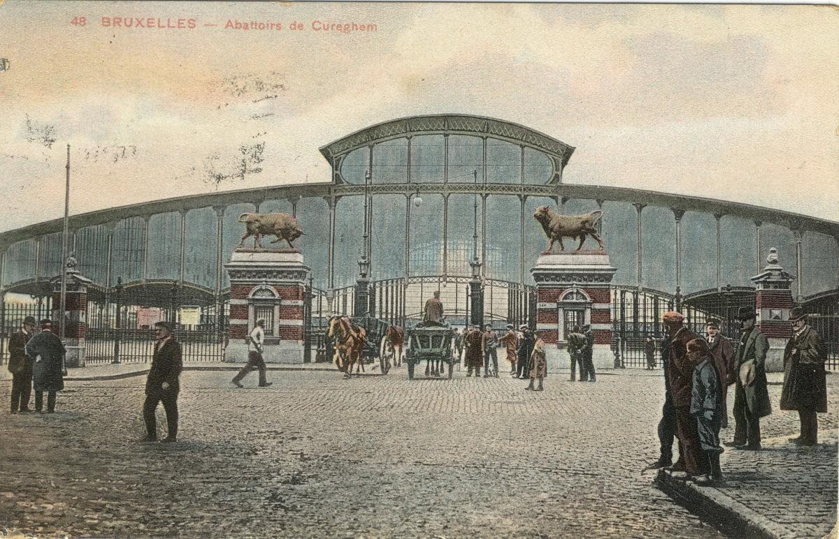 ancienne carte postale coloriée des abattoirs de Cureghem