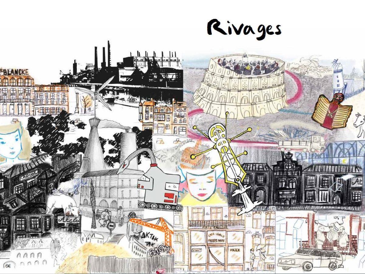 Melting pot des dessins réalisés par les participants pour la BD au rivage de Bruxelles. On y voit des bâtiments bruxellois, des voitures, des visages, des piétons, des animaux, des usines, une assemblée dans une tour de Babel, des chantiers etc.