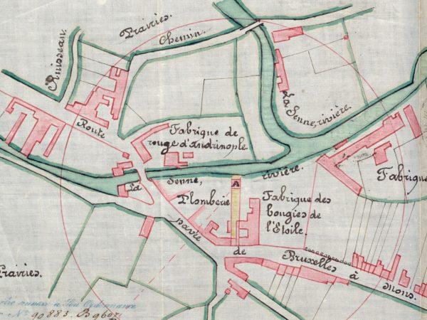 Plan dessiné à la main des industries jouxtant la Senne, fin 19ème siècle