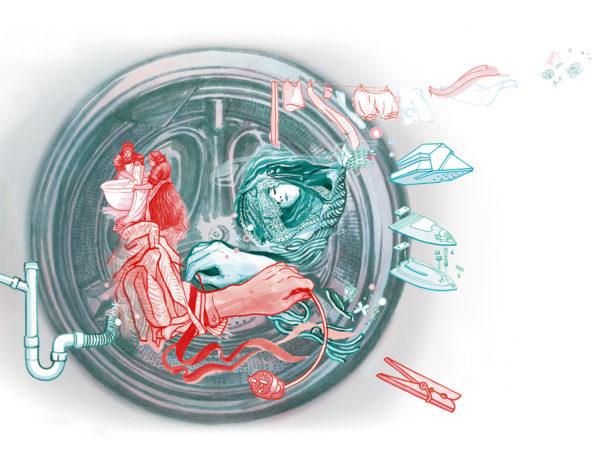 """Illustration de l'exposition """"Derrière le hublot, la lessive d'hier à demain"""""""