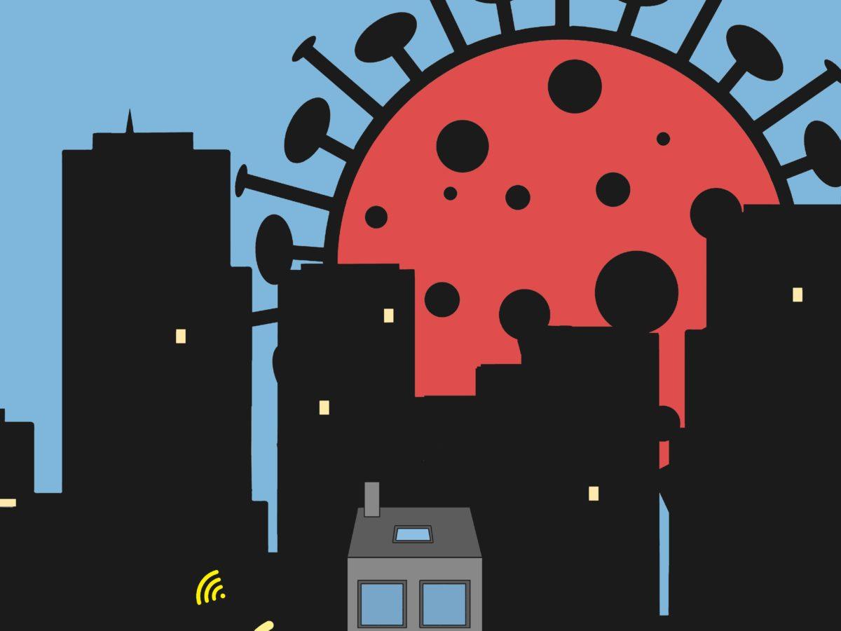 Un virus de la Covid domine la ville.
