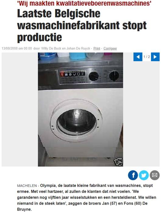 article du Laatste Nieuws : laatste Belgische wasmachinefabrikant stopt ermee